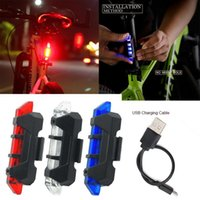 Bike Lights Bicycle Light Waterproof Rear Tail 5 LED USB Rechargeable Or Battery Style Cycling Safety Warning Portable
