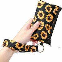 Neoprene Coin Purse ID Card Holder Wristlet Wallets Mini Bags Waterproof Sunflower Printing Fashion Handbag Passport Cover Coin Case RRA7421