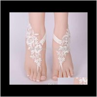 Anklets Drop Delivery 2021 Sexy Foot Chain White Barefoot Sandals Beach Anklet Jewelry Wedding Shoe Lace 1Pair Set 002 G8Vkw