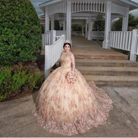2021 Sexy Luxurious Blush Pink Champagne Quinceanera Ball Gown Dresses 3D Floral Lace Appliques Crystal Sweep Train Hollow Back Plus Size Party Prom Evening Gowns