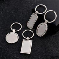 Chaveiros AessoriStingless Metal de aço em branco Chaveiro Moda Geometria Forma Pingente Titular Keyring para Homens Car Chaveiro Kimter-A142Z DR