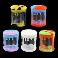 Smoking Colorful Silicone Skin Sleeve Portable Dry Herb Tobacco Thick Glass Tank Holder Storage Stash Case Sealed Container Cigarette Jars Bottle DHL Free