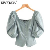 Kpytomoa Donne Fashion Button-up Croundped Bluses Vintage V Collo a soffio Manica Femminili Camicie Blusas Chic Tops 201202