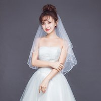 Bridal Veils Pearl Women Wedding Dress Veil Two Layers Tulle Ribbon Edge Short Accessories Elbow Length With Combs