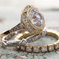 Choucong marca alianças de casamento top vender 3 pcs jóias vintage 925 esterlina silvergold enchimento redondo corte branco eternidade 3a cúbico zircão mulheres anel nupcial conjunto para presente de amante