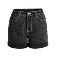 232 Mulheres Jean shorts cintura alta lavada solta perna larga botão de zíper de zíper de cowboy calça de natal shorts streetwear preto