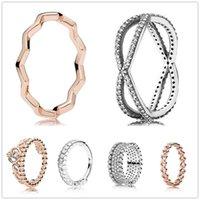 Anelli a cluster autentici 925 argento sterling in argento rosa oro principessa tiara corona reale con anello di cristallo per le donne gioielli festa di nozze