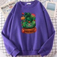 Men's Hoodies & Sweatshirts Cute Plant Cactus Free Hugs Print Hooded Mens Casual Fur-liner Hip Hop S-XXL Hoodie Autumn High Quality Women Sp