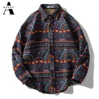 Айчжи вязаная полоса в полоску Национальный стиль рубашки ретро кнопка с длинным рукавом негабаритная зимняя уличная одежда хип-хоп Harajuku повседневные топы Tees 210331