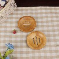 Runde Mini Seifenschale Kreative Umweltschutz Natürliche Bambus Seifenhalter Trocknen Seife Halter Badezimmer Zubehör HHE6069