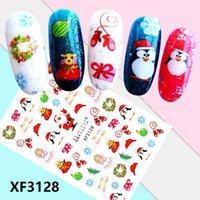 Christmas Nail Stickers 3D Santa Claus Snowflake Bell Printed Back Glue Nails Decal Sticker Self Adhesive Acrylic Tips Tool LHQ048