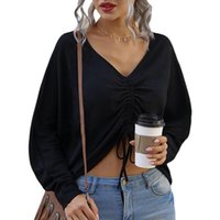 Women's V Neck Shirts Fashion Sexy Long Sleeve Solid Color Ruched Drawstring Loose Blouse Spring Autumn Bottoming Blouses &
