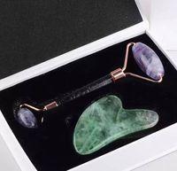 Jade Face Roller und Gua Sha Werkzeug Geschenk Set Naturstein lila oder grün Fluorit Gesichtsrollen Kratzen Spa Akupunktur Eye Neck Körper Schönheit Gesundheitswesen