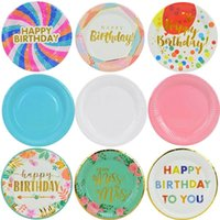 Disposable Dinnerware 10Pcs Birthday Party Tableware Plate 18inch Colorful Paper Plates For Home Baby Shower Wedding Decor Supply