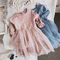 유머 베어 2021 봄 어린이 의류 소녀 긴팔 옷깃 불규칙한 메쉬 가을 대학 스타일 공주 여자 드레스