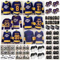 Reverse Retro Purple 55 Quinton Byfield 로스 앤젤레스 킹스 저지 8 Drew Doughty 11 Anze Kopitar 32 Jonathan Quick Carter Gretzky Jeff Carter