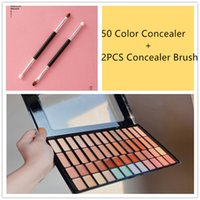 50 Color Cream Concealer Palette Professional Contour Makeup Cosmetic Palette Salon and Daily Use Contouring Foundation Kit with Two Headed Concealer Brush