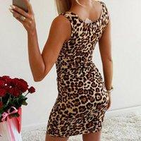 Casual Dresses 2021 Women Summer Leopard Print Slim Fit Dress Female Sleeveless Bodycon Short Mini Pencil Club Party Wear Sheath
