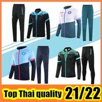 21 22 Napoli Trainingsanzug Hoodie Jacke Fussball Jersey Zielinski 21/22 SSC Neapel Lange Zipper Jacken Set Veste Anzug
