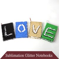 Sublimation A5 Glitter File Notebooks with Inner Dowling Papers Heat Transfer Printing Reversible Sequins Binders Mermaid Dairy Notebook DIY Memos Stationery