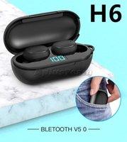 H6 Mini Bluetooth Headset LED Display Cell Phone Earphones headphones Nois Cancelling earphone In-ear Binaural Earbuds ip6x PK A6S E6S tws 5.0 Wireless Headphone New