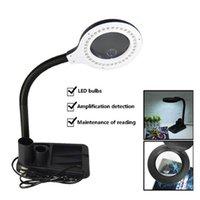 테이블 램프 EU 플러그 220V 공예품 유리 렌즈 LED 데스크 돋보기 램프 빛 5x 10x 돋보기 40 LED 스탠드와 함께 도구 수리