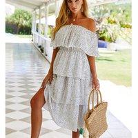 Frauen 2021 Produkt One-Shoulder Kuchen Kleid Urlaub Stil Weibliche Mode Polka Dot Print Kleider Straße Kleidung Casual