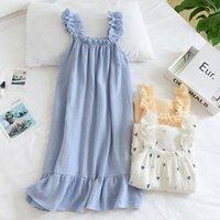 Women's Sleepwear Cotton Dress White Nightgown Summer Nightie Peignoir Casual Home Clothes Shirt Sweet And Cute Long Skirt