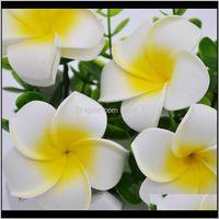 Dekorative Blumen Kränze Festliche Partei liefert Garten Drop Lieferung 2021 2 5 cm Sommer Hawaiianer PE Plumeria Künstliche Frangipani Schaumstoff Flow