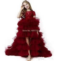 Girl's Dresses Princess Gorgeous Red High Low Girls Pageant Gowns Lace Applique Flower Girl Dress For Wedding Puffy Tulle Kids Communion
