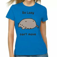 Pusheen The Cat SO LAZY CAN'T MOVE Girls Junior Fit T-Shirt Turquoise NWT