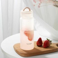 Frosted Matte Clear Glass Water Bottle 420ml Portable Cute BPA Free Waterbottle Milk Juice Cup Home Office Equipment Gifts 210610
