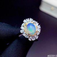 Fine Jewelry Natural Opal 925 Sterling Silver Luxury Girl Adjustable Gemstone Ring Support Test Selling Cluster Rings