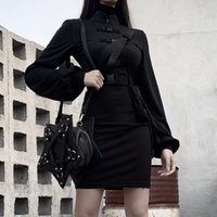 Dresses Improved bag Casual buckle Lantern Sleeve cheongsam autumn and winter ins women's 92443l