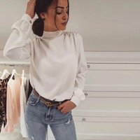 Office Lady Tops And Blouse Ladies Bow Tie Chiffon Shirt Casual Long Sleeve Female Plus Size Women White Collar Women's Blouses & Shirts