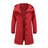 Women's Jackets Women Autumn Solid Color Rain Button Black Jacket Outdoor Plus Size Long Sleeve Waterproof Hooded Windproof Loose Coat