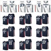 2021 Tokyo Olimpiadi Francia Maglie da basket uomo Donna Gioventù Rudy Gobert 27 Nicolas Batum 5 Guerschon Yabusele 7 Frank Ntilikina 1 Evan Fournier 10 Vincent Poirier