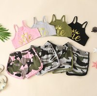 2021 Baby Clothing Sets Summer Kids Vest Printed Fashion Suspenders Camouflage Shorts Two-piece Designer Clothes For Boys And Girls