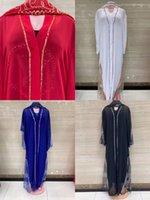 Ethnic Clothing Latest Muslim Kaftan Abaya Dress Kimono Women Dubai Open Turkish Stones Chiffon Scarf And Inside Elegant African Plus Size