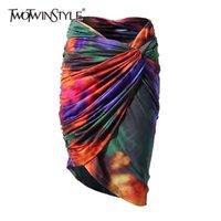 Twotwinstyle Kravat Boya Bodycon Etek Kadınlar Için Yüksek Bel Dantelli Slim Fit Renk Etekler Kadın Moda Giyim Yaz 210702