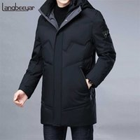 Top Grade Winter Brand Casual Fashion Long Parka 90% White Duck Down Coat Men Windbreaker Jacket With Hooded Mens Clothes 211023