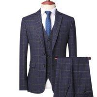 Men's Suits & Blazers (Jacket+Vest+Pants)Suit Set Plaid 3 Piece Business Professional Formal Suit Korean Slim Wedding Banquet Evening Dress
