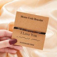 Charm Bracelets Code I Love You Family Braid Rope Bracelet For Women Men Couple Handmade Weave String Wooden Beads Friendship Jewelry Gift