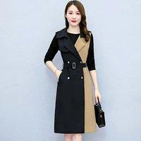 Women's Trench Coats 2021 Autumn Fashion Windbreaker Jacket Temperament Lace Waist Women Mid-length Suit