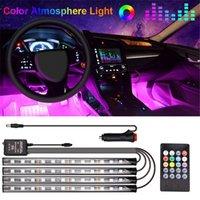 48 Lampada a LED Piedino per auto Lampada ambientale con USB Wireless Remote Music Control Modes multipli Automotive Interior Lights Decorative