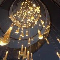 Altın Chandeleir Modern LED Avizeler Lamba Oturma Odası için Kapalı Aydınlatma Loft Kristal Merdiven Avize Asmak Işık