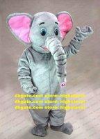Reizender grauer Elefant Elephoould Elephould mag Elephish Maskottchen Kostüm Mascotte mit großen rosa Ohren Großer Fettkörper Erwachsene No.485 Freies Schiff