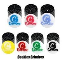 쿠키 탑 인쇄 그라인더 50mm 담배 슬라이서 4 레이어 허브 크러셔 다채로운 금속 그라인더 핸드 멀 러 흡연 액세서리 DHL 무료