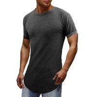 Camisetas de los hombres t shirt elegante camiseta de sexo masculino camiseta de la camiseta de la curva del dobladillo de la calle delgada de la calle del homence Hip Homme Tops de Hipster