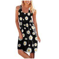 Casual Dresses Women's Summer Dress Bohemian Sunflower Printing Party Sleeveless Streetwear Female Clothing Vestido De Mujer